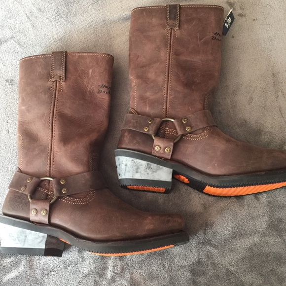 Harley Davidson Brown Leather Moto Boots NEW 9 12 NWT